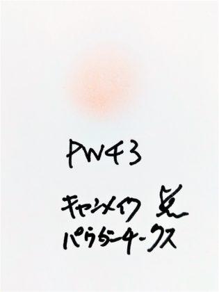 キャンメイク CANMAKE パウダーチークス 新色 PW43 コーラルホログラム 紙 色味