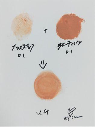 ダイソー(DAISO)×ユーアーグラム(URGLAM) グロススティック×シェーディングスティック 色味(紙)