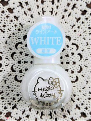 #37 WHITE(ホワイト)簡単ラインアート 細筆 ダイソー(DAISO)×サンリオ(Sanrio)コラボ フレンドネイル ハローキティ(Hello Kitty)