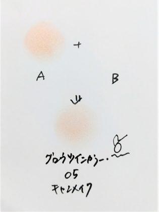 CANMAKE(キャンメイク) 2019年夏 アイシャドウ グロウツインカラー 05ピンクベージュパール 混色(A+B) 色味(紙)