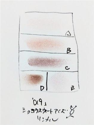 リンメル ショコラスウィートアイズ 019 ブルーベリーショコラ 全体 色味(紙)