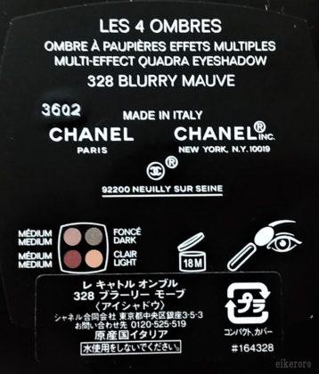 シャネル(CHANEL) レキャトルオンブル 328ブラーリーモーブ 裏面