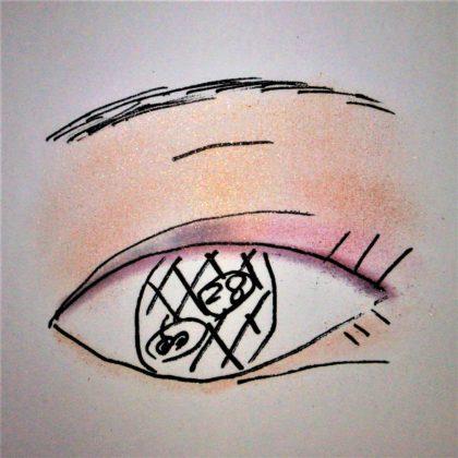 エレガンス(Elégance) 2019秋新作アイシャドウ ヌーヴェルアイズ 新色 28 魅惑的で鮮やかな印象 使い方 完成形 ラメ感(紙)