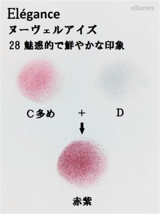 エレガンス(Elégance) 2019秋新作アイシャドウ ヌーヴェルアイズ 新色 28 魅惑的で鮮やかな印象 C多+D 混色 赤紫