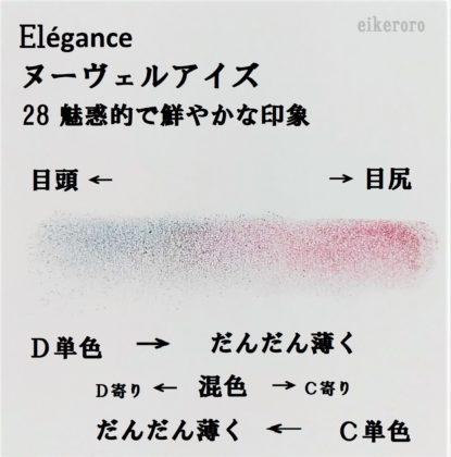 エレガンス(Elégance) 2019秋新作アイシャドウ ヌーヴェルアイズ 新色 28 魅惑的で鮮やかな印象 C+D 混色 アイライン カラーチャート