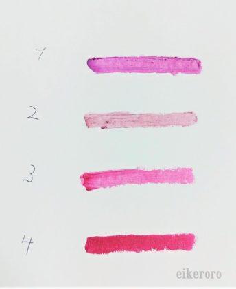セリア(Seria) ドゥベスト ミオピッコロ ジェムリップクレヨン 全色 色比較(紙)