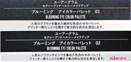 ダイソー(DAISO)×ユーアーグラム(URGLAM) 9色アイシャドウ ブルーミングアイカラーパレット 全2色(01,02) 説明書き