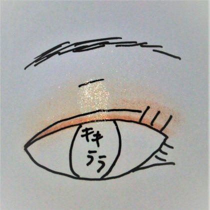 セリア(Seria)×キキララ新作アイシャドウ「ルミナスシャドウ」使い方 仕上りイメージ ラメ感