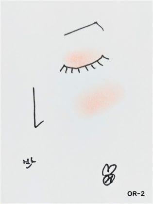 ダイソー×ユーアーグラム urglamアイ&チークカラー OR-2 ピンクオレンジ 使い方 イメージ