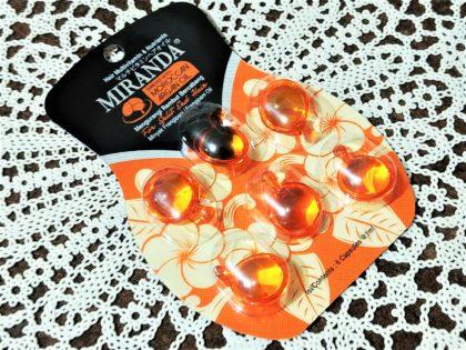セリア(Seria) キャンドゥ(CanDo) ミランダ 洗い流さないヘアトリートメント モロッカンアルガンオイル プルメリアオイル配合 バリスタイルヘアオイル(オレンジ)